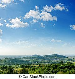 美丽, 山, 绿色的风景, 树