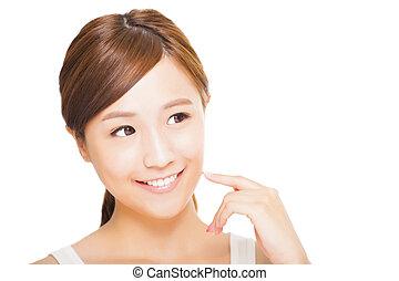 美丽, 年轻, 脸, 妇女, 亚洲人
