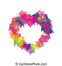 美丽, 心, 色彩丰富, 离开, 形状, 枫树