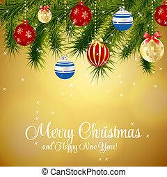 美丽, 摘要, 描述, 背景。, 矢量, 年, 新, 圣诞节