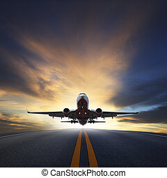 美丽, 旅客, 使用, 脱开, 商业, 空间, 工业, 天空, 飞机, 空气, 跑道, 对, 微暗, 旅行, 复制,...