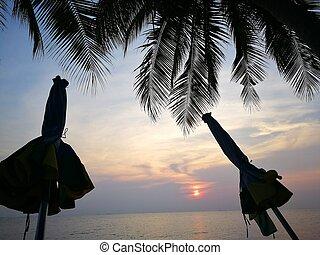 美丽, 日出, 在海滩上