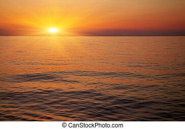 美丽, 日落, 结束, the, ocean., 日出, 在中, the, 海