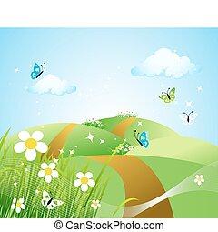 美丽, 春天, 草地