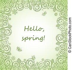 美丽, 春天, 装饰, 卡片