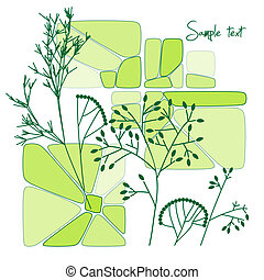 美丽, 植物群, 摘要, 矢量, 背景