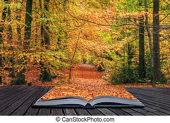 美丽, 概念, 振动, 极好, 发生地点, 不可思议, 细节, 秋季, 颜色, 书, 想法, 来, 落下, 创造性, 在外, 页, 森林