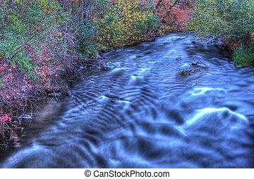 美丽, 河, 急流, 在中, hdr