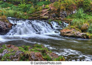 美丽, 河, 瀑布, 在中, hdr, 高, 动态, 范围