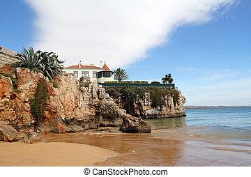 美丽, 海滩, 在中, cascais, 葡萄牙