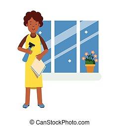 美丽, 清洁工, 妇女, 洗涤, 年轻, 描述, 布, 窗口, 矢量, 黑色, 打扫, 喷雾器, 家, 家庭作业