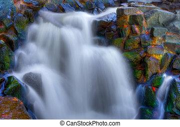 美丽, 瀑布, 在中, hdr