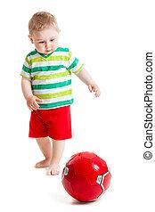 美丽, 男孩, 很少, 球, 玩, ball., 白色, 玩, 背景, 孩子