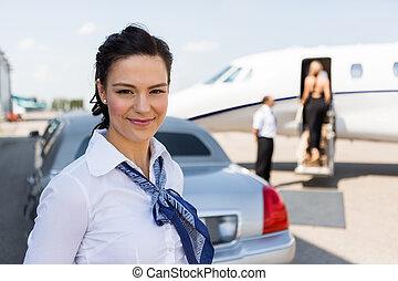 美丽, 站, 喷射, 私人, 对, airhostess, 轿车