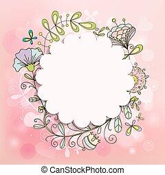 美丽, 粉红色, 心不在焉地乱写乱画, 框架, 我们, 模式, 背景