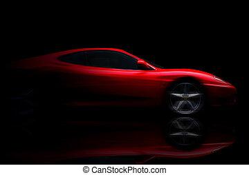 美丽, 红, 运动, 汽车, 在上, 黑色