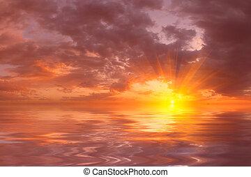 美丽, 结束, 日落, 海