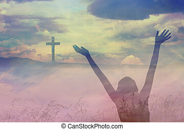 美丽, 耶稣, 云, christ, 横越