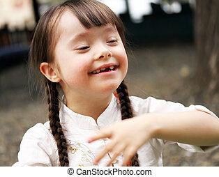 美丽, 肖像, 女孩, 年轻, 微笑
