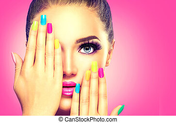 美丽, 色彩丰富, 脸, 指甲油, 女孩