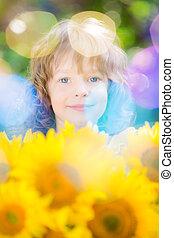 美丽, 花束, 向日葵, 孩子
