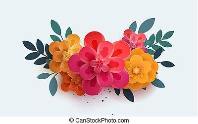 美丽, 花束, 花, 纸