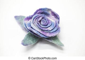美丽, 蓝色, 升高, 花, 磨碎, 羊毛, 在上, a, 白色, 背景。