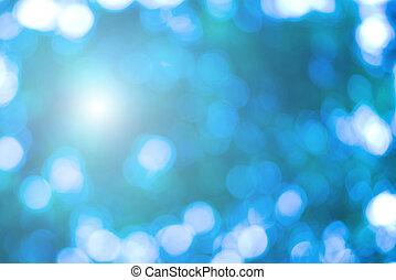 美丽, 蓝色, bokeh, 明亮