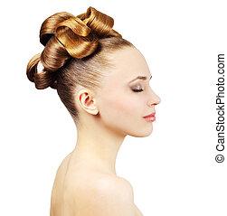 美丽, 隔离, 头发, 背景, 女孩, 白色