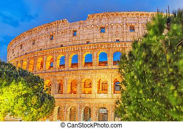 美丽, 风景, 在中, colosseum, 在中, rome-, 一, 在中, 奇迹, 在中, 世界, 在中, the, 晚上, time.