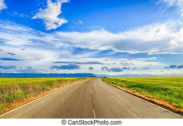 美丽, 风景, 领域, 在中, 小麦, 道路, 云, 同时,, 山。, hdr, 形象