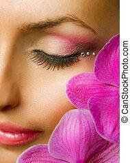 美丽, closeup, makeup., 脸