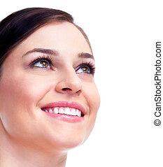 美丽, face., 妇女, smile.