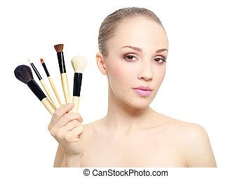 美丽, makeup刷子, 隔离, 女孩, 白色