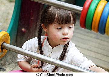 美丽, playground., 女孩, 年轻, 肖像