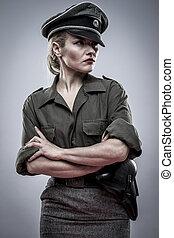 美丽, reenacting, 妇女, 德语, 士兵, 官员, ii, 世界, reenactment, 战争