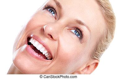 美丽, woman., 微笑, 同时,, teeth.