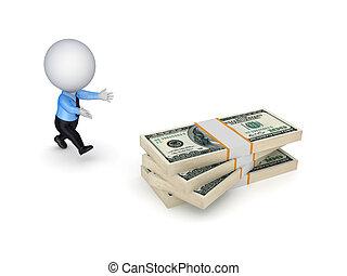 美元。, 人跑, 3d, 小