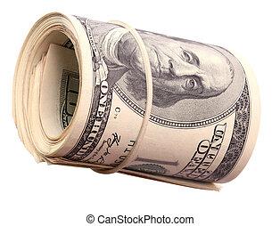 美元, 美国人, 绿色, 卷, banknote