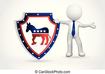 美国, 人们, 符号, -, 小, 民主, 3d