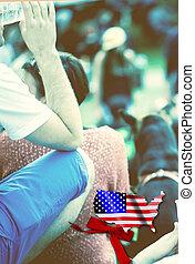 美國人, 節日, ......的, 年青人, 由于, 人群, ......的, 人們