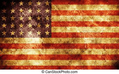 美國人, grunge, 旗, 背景