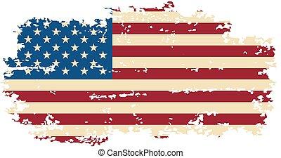 美國人, grunge, flag., 矢量, illustration.