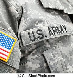 美國旗, 以及, 美國, 軍隊, 補丁, 上, solder's, 制服