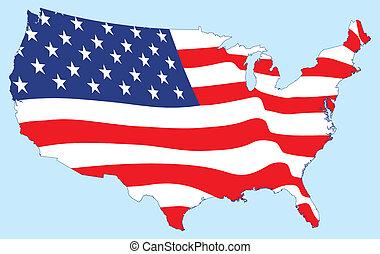 美國, 地圖, 由于, 旗