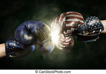 美國, 拳擊, 政治, 良好, 手套, 在之間,  symbolized, 危機