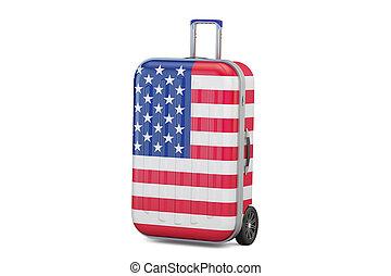 美國, 旅行, 概念, 小提箱, 由于, 旗, ......的, us., 3d, rendering