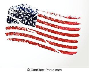 美國, 美國人, grunge, flag.