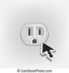 美國, 電, 家庭, 出口, 被隔离, -, 插圖