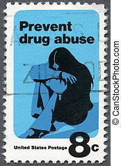 美國, -, 1971:, 顯示, a, 年輕婦女, 藥物迷戀者, 防止, 嗜用麻醉毒品
